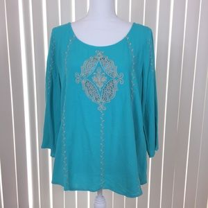 Skies are Blue Turquoise Embroidered Blouse M